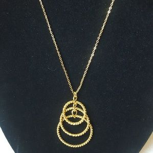 New Goldtone Necklace with 3 Rings